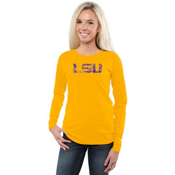 LSU Tigers Women's Classic Primary Logo Slim Fit Long Sleeve T-Shirt - Gold