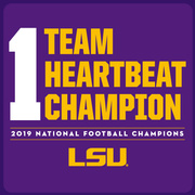 1Team 1 Heartbeat PURPLE: 2019 LSU National Champions T-Shirt